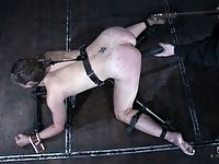 Dirty blonde in pain strapped down clamped whipped and fucked