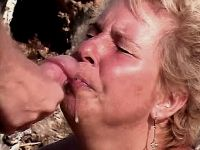 Granny has anal fuck n gets facial