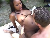 Chubby ebony vixen in wild and sultry sex pounding outdoors