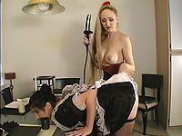 Chantas french maid gets shocked for not scrubbing the floor.