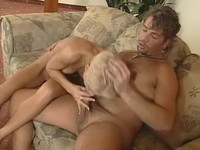 Lewd blonde fucking w bloke on sofa