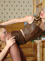 Vivacious chicks craving to slide their hands into control top pantyhose