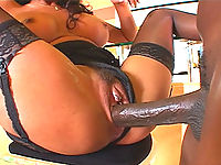 Lex Steele gets his massive black cock sucked on by this bitch