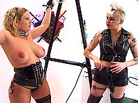Tied up busty blonde ready for bondage