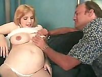 Beautiful blonde preggo having her huge tits massaged