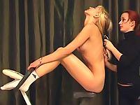Submissive gymnast made to ride bike nude
