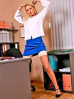 Blonde secretary Vickie in blue skirt and white stockings