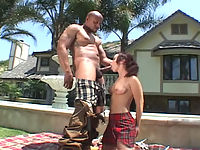 Elizabeth sucks the pool boys huge black cock