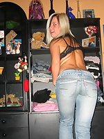 Teen girls in tight jeans fool around and show panties