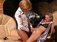 Cute young maid getting to sizzling strap-on play with her freaky mistress