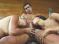 TS and straight girl blows guy dick