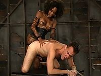 Hung Black TS mistress forces straight man to worship huge dick.
