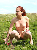 Kinky tart sunbathes nude and tinkles in the field