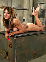 Smooth young Asian girl bound in tight crotch ropes