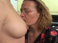 Lusty granny spoils innocent chick