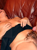 Lad unloads his balls onto fat mama's hairy pubis