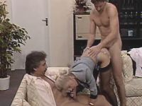 Blonde milf sucks n fucks w two men