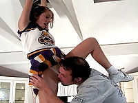 Slutty cheerleader bending over for a pussy-banging.