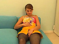 Pantyhosed teeny gently playing with her wet hole