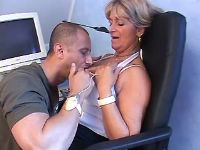 Lustful granny spoils guy in chair