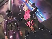 Masked mom in latex humiliate dude