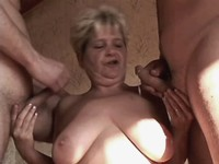 Granny fucks in orgy and gets cum