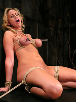 Hot MILF with HUGE nipples gets bound and forced to cum.