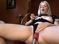 19 year old hot blonde discovers the power of machine orgasms.