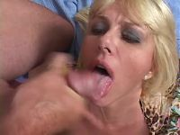 Beautiful mature with huge boobs gets cum in mouth