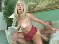Old blond lady jumps on strong cock of horny man