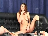 amateur brunette in leather touching herself