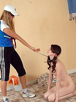 Naked lissome cutie genuflects before her coach
