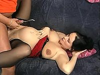 Pregnant beauty gets cumload on bed