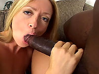 White slut tries to take on a huge black cock and loses
