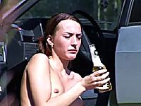 Blind drunk college girl pissing next to her car