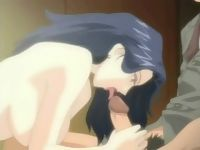 Wild anime with gal sucking and jerking off cock