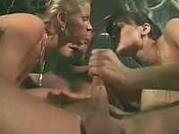 Two crazed bitches lustfully hardening meaty cock in threesome gangbang orgy
