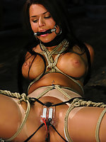 Eva Angelina gets her big tits tied and shocked