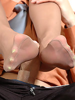 Freaky babe worshipping cock with her delicious feet clad in lacy pantyhose