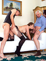 Old fucker likes her young pussy and her ass
